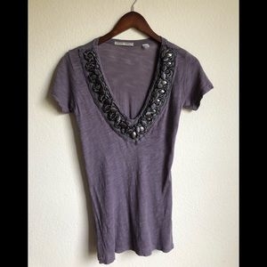Threads 4 Thought dusty purple deep V tee